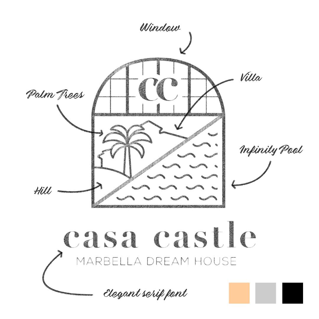 casa castle badge sketch